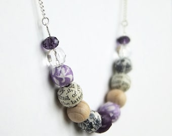 Purple beaded necklace, fabric covered beads