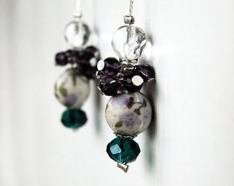 Teal purple earrings, mixture of faceted glass and fabric covered beads on a fine silver plated chain