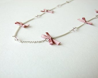 Pink bow long chain necklace ribbon silver plated
