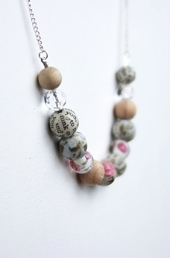 Pink and blue beaded necklace, fabric covered beads in pastels, wood and cream