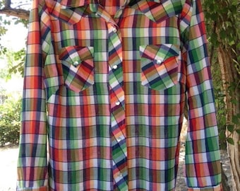 Vintage H Bar C Country Cowgirl Western Shirt Lightweight Multicolor Pearl Snaps Great Condition California Ranchwear