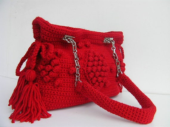 crochet bag/knitting bag/wool bag/Celebrity style handmade unique bag with metal/crochet straps ,in red