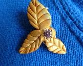 Bronze Tri Leaf & Berry Brooch
