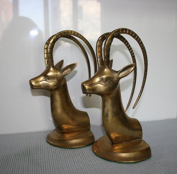 Vintage Gazelle Brass Bookends