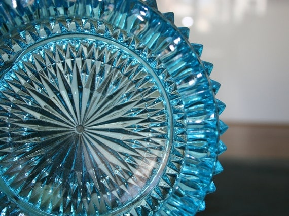 Vintage Ash Tray or Soap Dish, Blue Glass