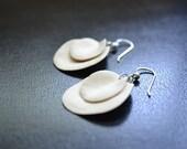 Short White Layered Petal Earrings