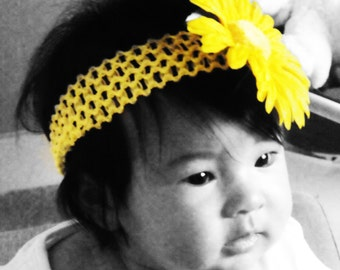 Gerbera Daisy Flower attached to a soft crochet headband, available in Yellow, Orange, and Pink