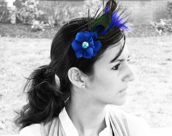 Blue Peacock Feather Headband, For Any Age