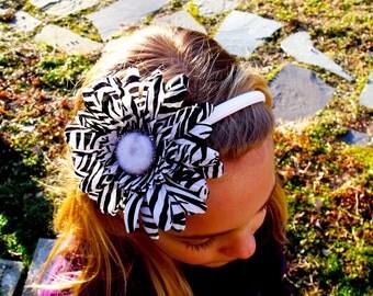 Girl's Black and White Zebra Gerbera Daisy Flower Headband
