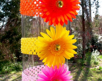 Gerbera Daisy Flower Headband, in Yellow, Orange, and Pink, Fits Infant - Adult