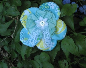Lilly Pulitzer Recycled Fabric Flower Pin/Brooch/Hat Pin //Recycled Lilly Fabric and Notions//One of a KInd//Unique Lilly Pulitzer Accessory
