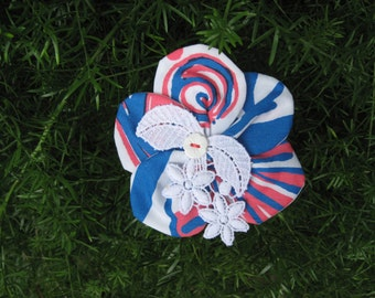 Lilly Pulitzer Recycled Fabric Flower Hair Pin// Hat Pin//Decor Accent//Sorority Sister Gift//Easter//Mothers Day