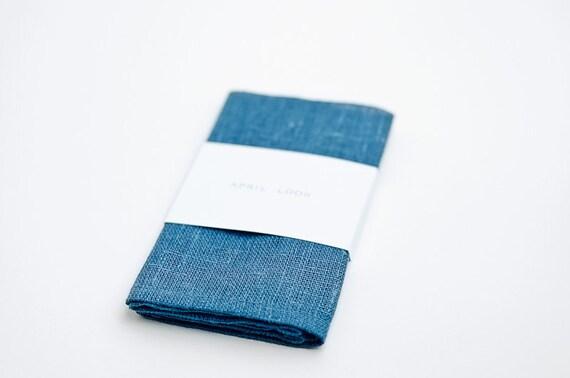 Blue linen pocket square