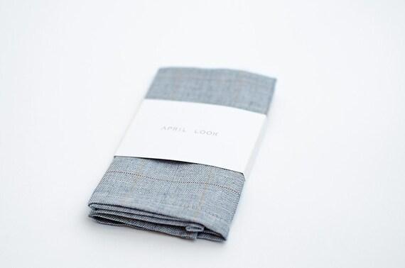 Light blue plaid pocket square