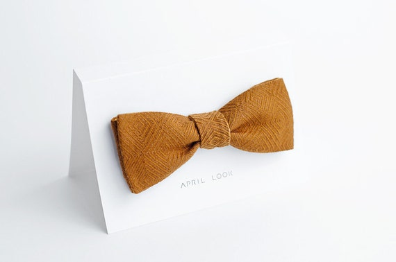 Casual brown men's bow tie - double sided