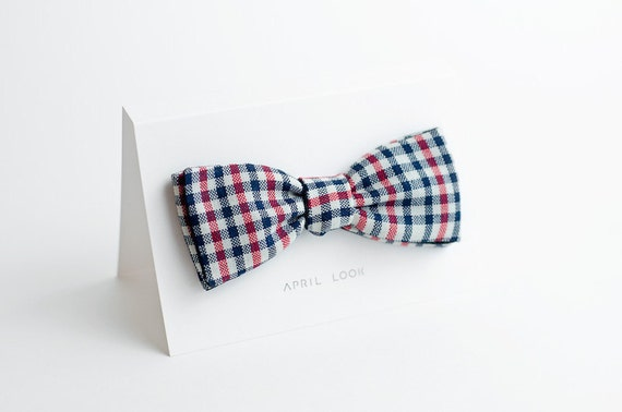 Plaid wool bow tie - double sided