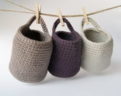 Set of 3 Storage Basket in Violet, Taupe and Ecru
