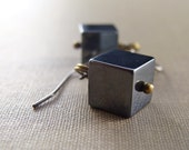 Modern Minimalist Hematite Cube Earrings Dark Gray Antiqued Brass Gold