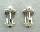 Cultured Pearl and Silver Clip Earrings