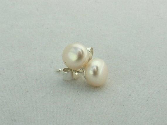Classic White Freshwater Pearl Stud Earrings