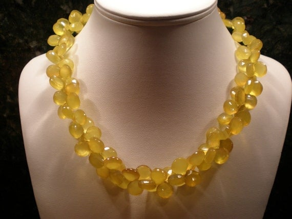 Give your Valentine Yellow chalcedony faceted briolette necklace - a ring of sunshine around your neck