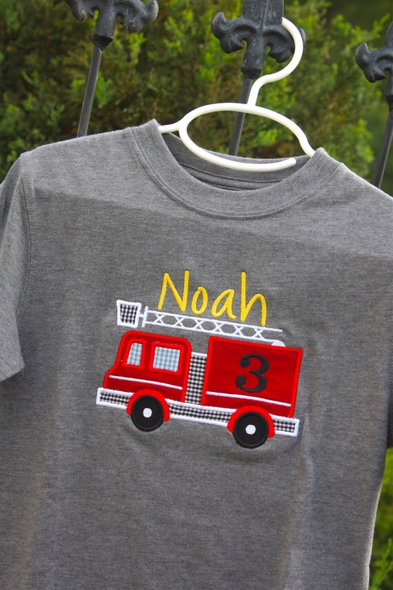 Fire Truck Applique Tee