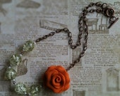 Tangerine Rose Necklace, vintage inspired glass beads with clay rose