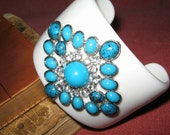 SALE  HUGE  RUNWAY Turquoise Cuff   White Lucite Bracelet with Rhinestones