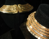 THE ULTIMATE RUNWAY Egyptian  Etruscan Cleopatra Collar Necklace 1960's Vintage