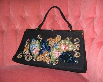 VINTAGE BLACK BEADED  1950's Purse, Evening Bag