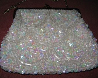 VINTAGE BEADED EVENING Purse Ivory Sequins 1960's