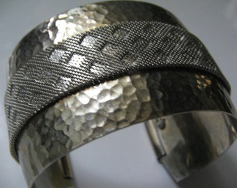 SALE HUGE HOBE Cuff Vintage Runway Bracelet Hammered Silver Mesh Retro 1960s Mod