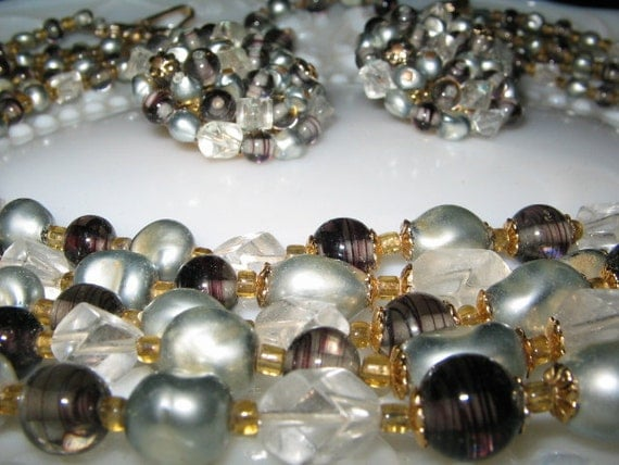 SALE VINTAGE GREY Pearl 5 Strand Necklace and Earrings Set 1950's Retro