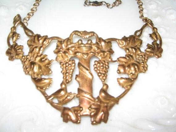 SALE HUGE Vintage GRAPES Necklace in Brass