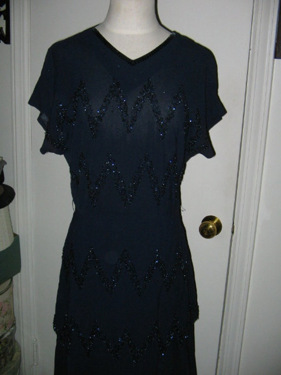 SALE VINTAGE BEADED Dress 1930's, 40's Navy Blue Cocktail Dress Art Deco Style