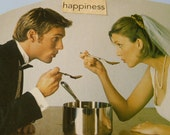 Happiness for Couples: Love, Anniversary, Collage Note Card or Mini Art Print on High Quality Recycled Cardstock