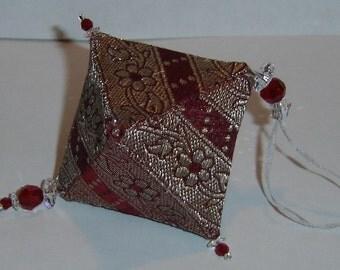 Burgundy Silk Octahedron Polyhedron Ornament