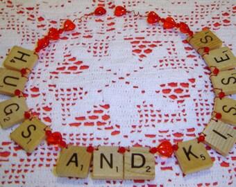 Hugs and Kisses - Scrabble Tile Ornament