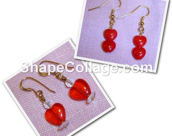 RED HEART Earrings - Choice of Two Pairs