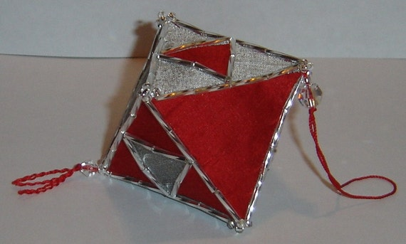 Red and Silver Silk Octahedron Polyhedron Ornament