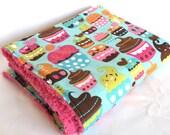 Ultra Fluffy Turquoise Cupcakes Baby Girl Minky Stroller Blanket (Michael Miller)