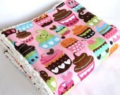 Sweet Treats Pink Cupcakes - Ultra Fluffy - Baby Girl Minky Stroller Blanket - Travel Size