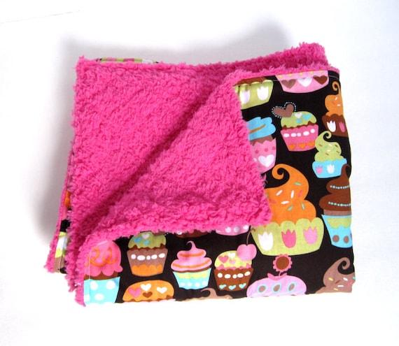 Brown and Pink Cupcakes - Dark Hot Pink Minky Stroller Blanket