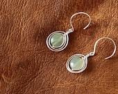 Green Jade Earrings Sterling Silver - Orbital Design
