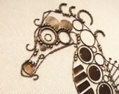 "Original Fine Art with Found Items - Brass Seahorse - 8"" x 10"""