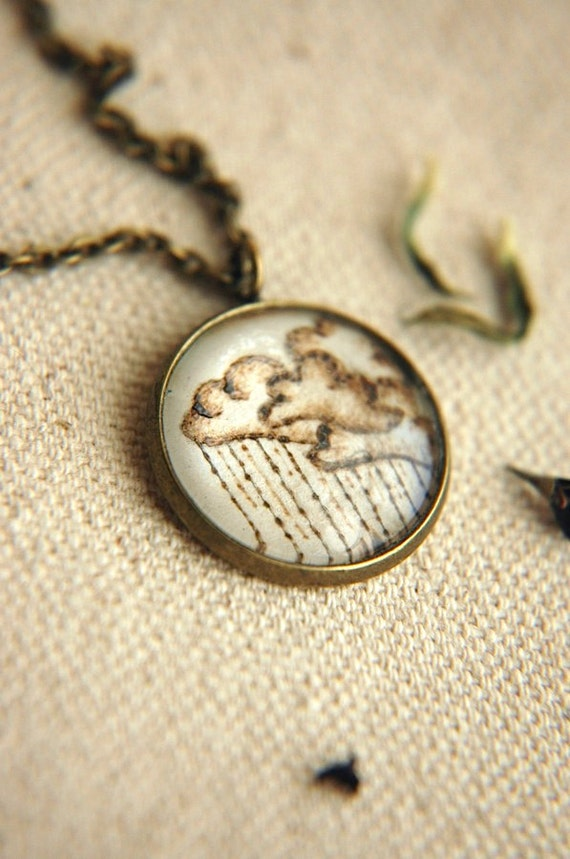 Original Art Pendant Necklace - Stormy Skies