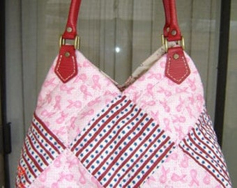 Two-color Mosaic Purse/ Diaper bag with Lather strap