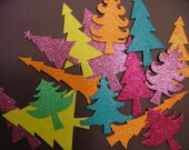 Handmade Christmas Tree Foam Glitter Stickers - Set of 15