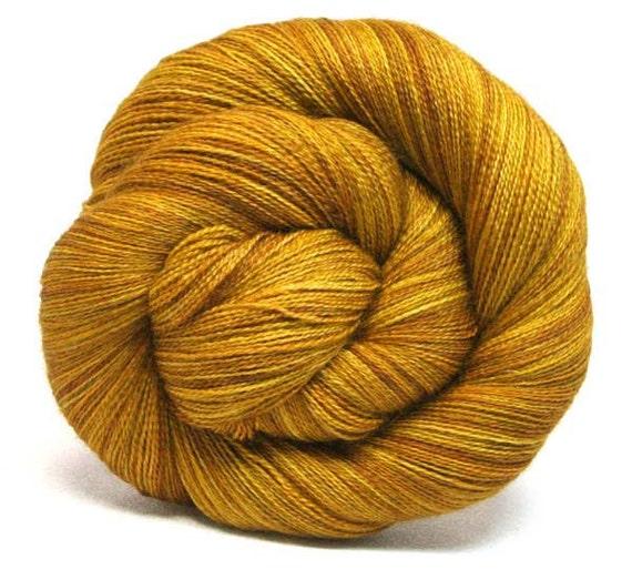 "Lace 80/20 BFL Silk Hand Dyed Yarn 875yds ""Sekhmet"""