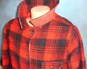 vintage jacket, reversible, buffalo plaid, red and black, wool and canvas, from Diz Has Neat stuff